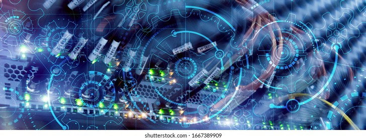 High Performance. Gear wheel on Supercomputer Background.