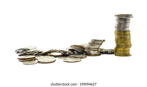 High pile of gold and silver coins thailand isolated on white background