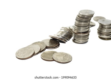 High pile of silver coins thailand isolated on white background