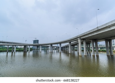 High pillars of expressway?Elevated expressway. The curve of suspension bridge,