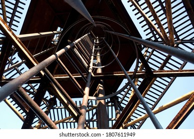 high platform of an old unused abandoned antenna tower