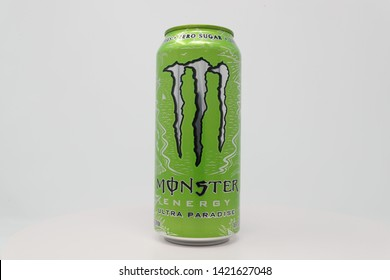 High Point, North Carolina / U.S.A. - June 8, 2019:  Monster Energy's Ultra Paradise flavor is a sugar free energy drink manufactured by Monster Beverage.