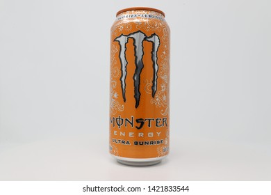 High Point, North Carolina / U.S.A. - June 8, 2019:  Monster Energy's Ultra Sunrise flavor is a sugar free energy drink manufactured by Monster Beverage.