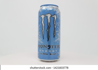 High Point, North Carolina / U.S.A. - June 8, 2019:  Monster Energy's Ultra Blue flavor is a sugar free energy drink manufactured by Monster Beverage.