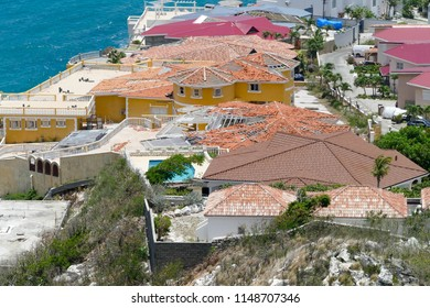High point view of pelican key after hurricane irma, on st.maarten