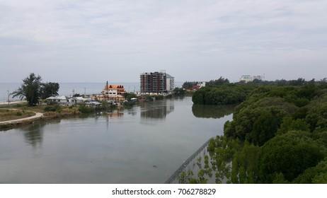 High point view Rayong river and the sea at Rayong Thailand