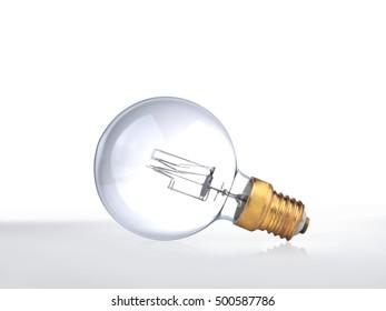 high power edison light bulb on white background