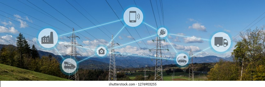 High power electricity poles connected to smart grid. Energy supply, distribution of energy, transmitting energy, energy transmission, high voltage supply concept photo, smart grid, smart home