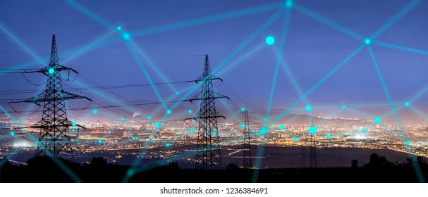 High power electricity poles in urban area connected to smart grid. Energy supply, distribution of energy, transmitting energy, energy transmission, high voltage supply concept photo.  - Shutterstock ID 1236384691