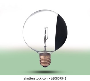 high power incandescent light bulb on white background, solving solution concept