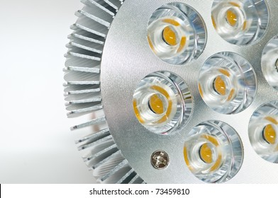 High power LED light bulb on a white background