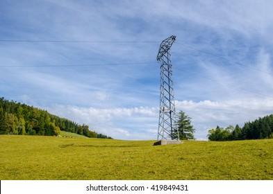 High Power Transmission Line. High power lines stretch far off to the horizon near breitenstein am semmering in austria