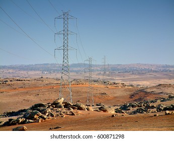 High powered transmission electricity power lines in Remote Outback Australia