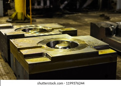 High precision die mold for casting automotive aluminium parts make with iron metal steel by lathe milling drilling and CNC machinery in the industrial factory. Detail - form part of a cast machine.
