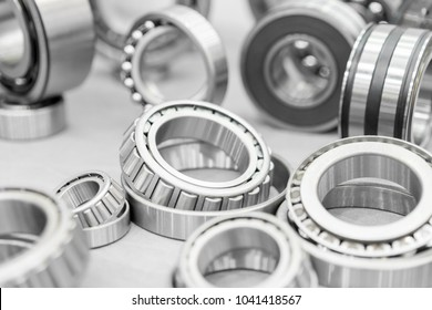 High precision machine parts bearing isolate on white background in workshop