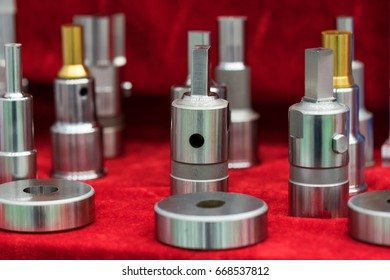 Multiple Hydraulic Cartridge Valves Covered Oil Stock Photo