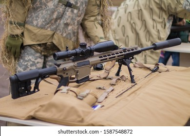 High precision weapons. Sniper rifle. Accurate sight.