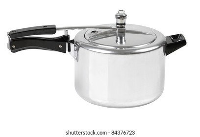 High pressure aluminum cooking pot with safety cover an image isolated