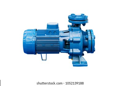 High pressure Centrifugal blue pump include motor isolated on white background