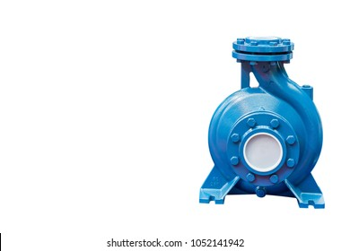 High pressure Centrifugal blue pump include motor isolated on white background with copy space