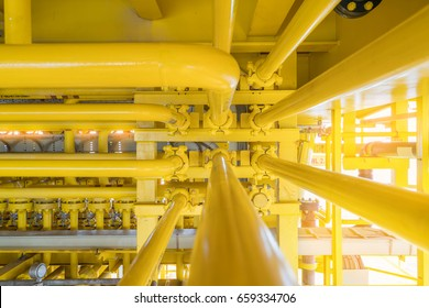 High pressure pipe line to transfer liquid to sea line at offshore oil and gas construction platform the inside is crude oil, water and gases.
