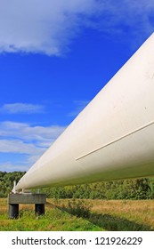 The high pressure pipeline in a winter landscape