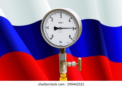 High pressure reading on gas wellhead isolated on flag Russia