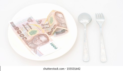 High price of food concept: Eating money for dinner