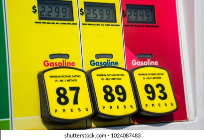 High prices for gas Octane rating and high prices at the gas pump. Yellow buttons to choose unleaded or premium gasoline. Fossil fuels power our cars and transportation and cost is rising