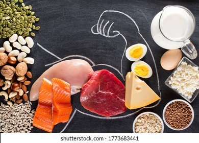 High protein food for body builders as meat, fish, dairy, eggs, buckwheat, oatmeal, nuts, bean, pumpkin seed and sunflower seed. Top view.