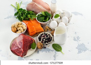 High protein food - fish, meat, poultry, nuts, eggs. Products goof for healthy hair. Space for text
