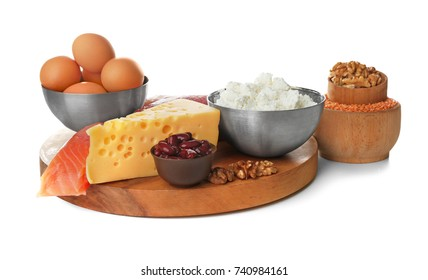 High protein food on white background