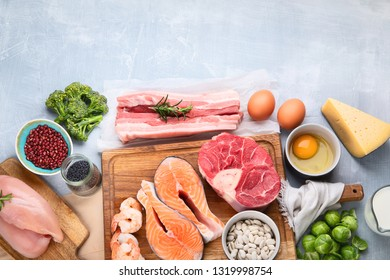 High Protein Foods. Healthy eating and diet concept. Top view with copy space