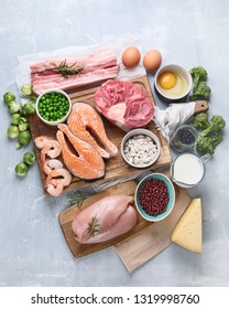 High Protein Foods. Healthy eating and diet concept