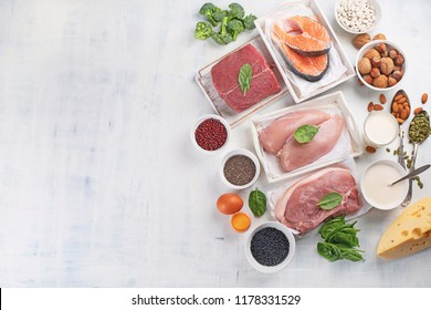 High protein foods. Top view with copy space. Healthy eating concept