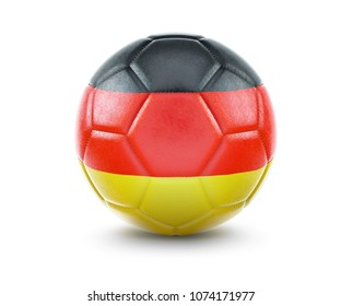 High qualitiy rendering of a soccer ball with the flag of Germany.(series). 3D  rendering.