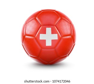 High qualitiy rendering of a soccer ball with the flag of Switzerland.(series)
