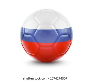 High qualitiy rendering of a soccer ball with the flag of Russia.(series). 3D  rendering.