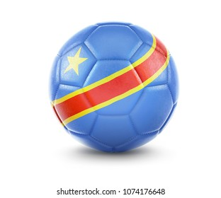 High qualitiy rendering of a soccer ball with the flag of Democratic Republic of the Congo.(series). 3D  rendering.