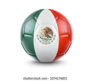 High qualitiy rendering of a soccer ball with the flag of Mexico.(series). 3D  rendering.