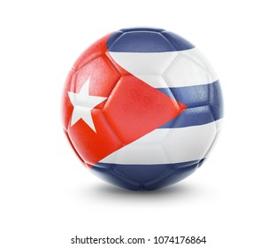 High qualitiy rendering of a soccer ball with the flag of Cuba.(series). 3D  rendering.