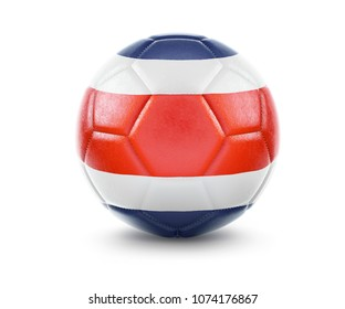 High qualitiy rendering of a soccer ball with the flag of Costa Rica.(series). 3D  rendering.