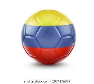 High qualitiy rendering of a soccer ball with the flag of Colombia.(series). 3D  rendering.