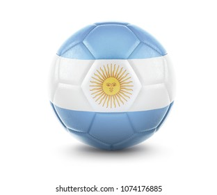 High qualitiy rendering of a soccer ball with the flag of Argentina.(series). 3D  rendering.