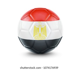 High qualitiy rendering of a soccer ball with the flag of Egypt.(series). 3D  rendering.