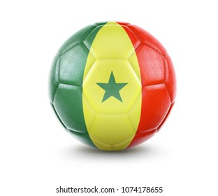 High qualitiy rendering of a soccer ball with the flag of Senegal.(series). 3D  rendering.