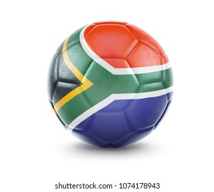 High qualitiy rendering of a soccer ball with the flag of South Africa.(series). 3D  rendering.