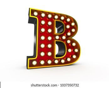 High quality 3D illustration of the letter B in Broadway style with light bulbs illuminating it over white background