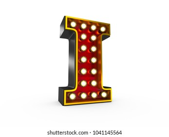 High quality 3D illustration of the letter I in Broadway style with light bulbs illuminating it over white background
