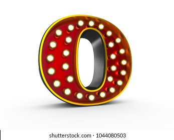 High quality 3D illustration of the letter O in Broadway style with light bulbs illuminating it over white background